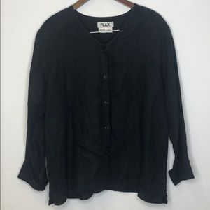FLAX Button Down Top Black 100% Linen